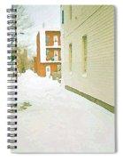 Montreal Art Urban Winter City Scene Painting Verdun Laneway After  Heavy December Snowfall Spiral Notebook