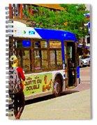 Montreal Bus Scenes Catching The 97 Bus Pontiac Corner Mont Royal Urban Montreal Art Carole Spandau Spiral Notebook