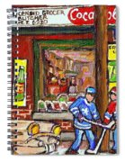 Montreal Hockey Paintings At The Corner Depanneur - Piche's Grocery Goosevillage Psc Griffintown  Spiral Notebook