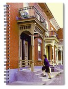 Montreal Memories Pretty Plateau Porches Lady Climbs Front Steps By Bricks Balconies Home Cspandau   Spiral Notebook