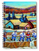 Montreal Memories Rink Hockey In The Country Hockey Our National Pastime Carole Spandau Paintings Spiral Notebook