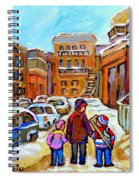 Montreal Paintings Winter Walk Past The Old School Snowy Day City Scene Carole Spandau Spiral Notebook