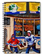 Montreal Pool Room City Scene With Hockey Spiral Notebook