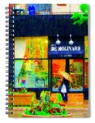 Montreal Rainy Day  Window Shopping Girl With Paisley Umbrella Spa Molinard Laurier  Carole Spandau Spiral Notebook