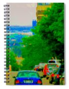 Montreal Skyline Decarie View Of Clock Tower Victoria Pier And Super Hospital Site Carole Spandau Spiral Notebook