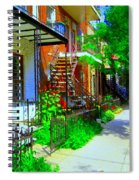 Montreal Stairs Shady Streets Winding Staircases In Balconville Art Of Verdun Scenes Carole Spandau Spiral Notebook