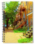 Montreal Stairs Winding Staircases And Sunny Tree Lined Sidewalks Verdun Scenes Carole Spandau  Spiral Notebook