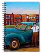 Montreal Taxi Driver 1940 Cab Vintage Car Montreal Memories Row Houses City Scenes Carole Spandau Spiral Notebook