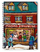 Montreal Winter Hockey At Moishes Spiral Notebook
