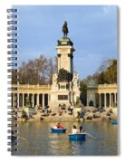 Monument And Lake In Retiro Park In Madrid Spiral Notebook