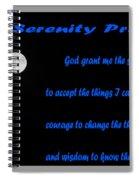 Moon - Serenity Prayer - Blue Spiral Notebook