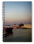Moon Over Piraeus Port Spiral Notebook