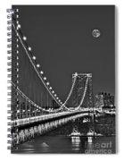 Moon Rise Over The George Washington Bridge Bw Spiral Notebook