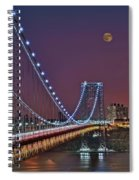 Moon Rise Over The George Washington Bridge Spiral Notebook