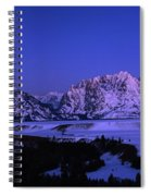 Moon Sets Over Behind The Tetons Panorama Spiral Notebook