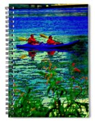 Moonlight Kayak Ride Along The Coastline Of The Lachine Canal Quebec Sea Scenes Carole Spandau Spiral Notebook