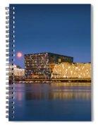 Moonlight Over Reykjavik Harbor Spiral Notebook