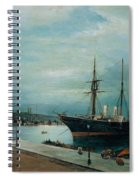 Moonlit Harbour Of Volos Spiral Notebook