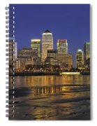 Moonrise Over River Thames Flowing Past Canary Wharf Spiral Notebook