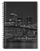 Moonrise Over The Brooklyn Bridge Bw Spiral Notebook