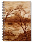 Morning Fishing Original Coffee Painting Spiral Notebook