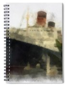 Morning Fog Queen Mary Ocean Liner 01 Photo Art 01 Spiral Notebook