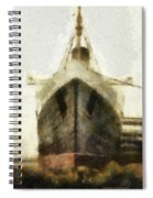 Morning Fog Queen Mary Ocean Liner Bow 03 Long Beach Ca Photo Art 02 Spiral Notebook