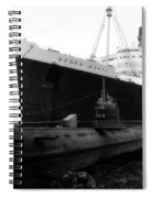 Morning Fog Russian Sub And Queen Mary 01 Bw Spiral Notebook