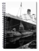 Morning Fog Russian Sub And Queen Mary 02 Bw Spiral Notebook
