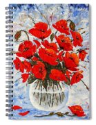 Morning Red Poppies Original Palette Knife Painting Spiral Notebook
