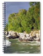 Morning Sun At Cave Point Spiral Notebook