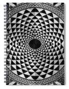 Mosaic Circle Symmetric Black And White Spiral Notebook