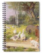Mother And Child With Geese Spiral Notebook