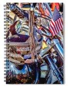 Motorcycle Helmet And Flag Spiral Notebook