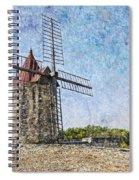 Moulin De Daudet Fontvieille France On A Texture Dsc01833 Spiral Notebook