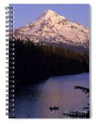 Mount Hood With Kids In Row Boat Silhouetted Spiral Notebook