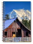 Mount Rainier And Barn Spiral Notebook