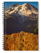 Mount Rainier At Sunset With Big Boulders In Foreground Spiral Notebook