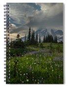 Mount Rainier Meadows Storm Brewing Spiral Notebook