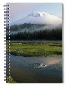 Mount Rainier Shrouded In Fog Spiral Notebook