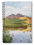 Mountain Landscape With Egret Spiral Notebook