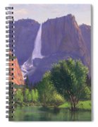 Mountains Waterfall Stream Western Mountain Landscape Oil Painting Spiral Notebook