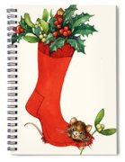 Mouse In A Christmas Sock Spiral Notebook
