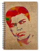 Muhammad Ali Watercolor Portrait On Worn Distressed Canvas Spiral Notebook