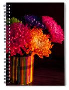 Multicolored Chrysanthemums In Paint Can On Chest Of Drawers Int Spiral Notebook