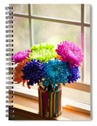 Multicolored Chrysanthemums In Paint Can On Window Sill Spiral Notebook