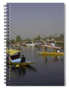Multiple Number Of Shikaras On The Water Of The Dal Lake In Srinagar Spiral Notebook