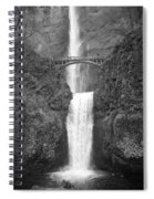 Multnomah Double Falls - Bw Spiral Notebook