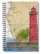 Muskegon Lighthouse Mi Nautical Chart Map Art Cathy Peek Spiral Notebook