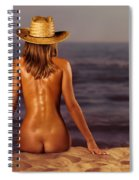 Naked Woman Sitting At The Beach On Sand Spiral Notebook